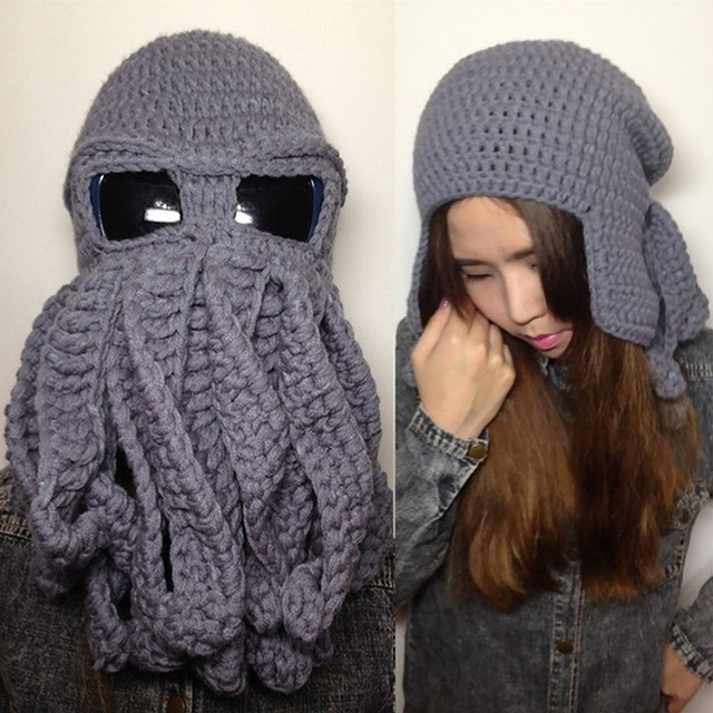 06b28373e896f Tentacle Octopus Cthulhu Knit Beanie Hat Cap Wind Mask-in Skullies ...