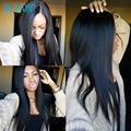 Яки прямо полный парик шнурка виргинских человеческих волос легкий итальянский яки прямо парик фронта шнурка волос младенца для черных женщин 130 плотность