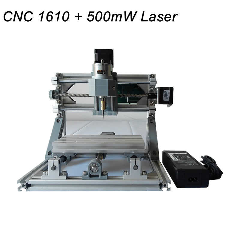 CNC 1610 + 500mw Laser CNC engraving machine Pcb Milling Machine diy mini cnc router with GRBL control eur free tax cnc 6040z frame of engraving and milling machine for diy cnc router