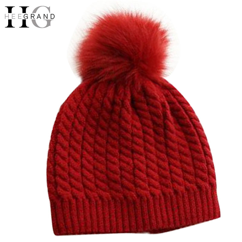 HEE GRAND Winter Fur Pompom Hat Women Cashmere Wool Cotton Sombreros Fur Knitted Beanies Christmas Hat  Fur Bobble Hats PMM302 women s hats and fascinators vintage sinamay sagittate feather fascinator with headband tocados sombreros bodas free shipping