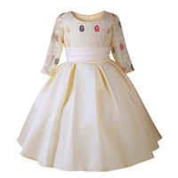 Girls 7-Sleeve Lace Princess Dress 3-10 year Fall children Show performance Dress High quality Christmas party dress