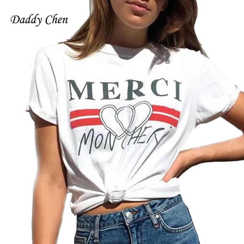 0e76ea877b699 Merci carta impresión T camisa corazón rojo camiseta mujer 2018 verano  Casual manga corta T Camisas