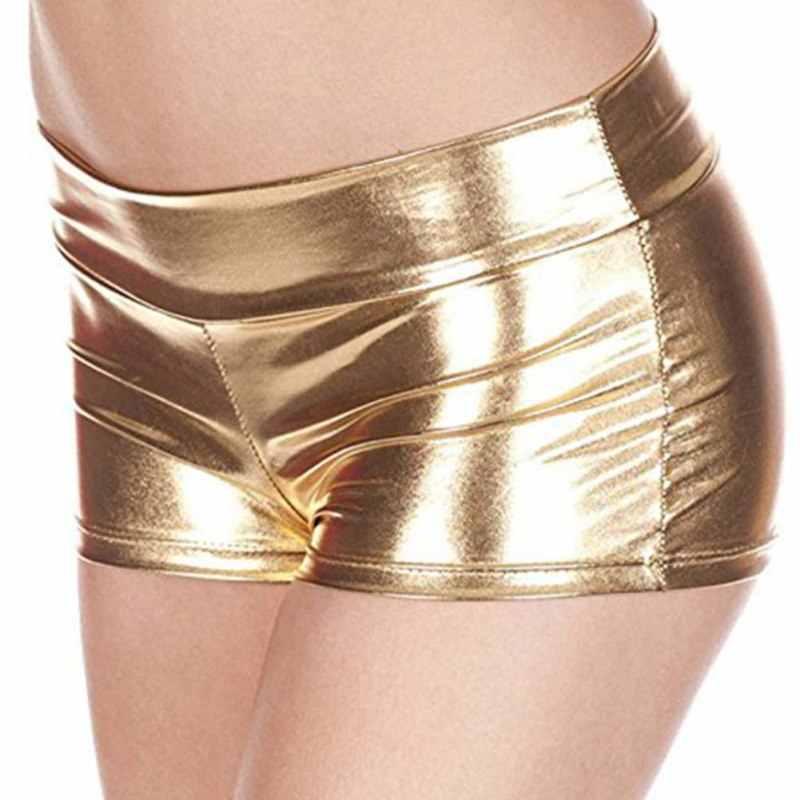 Lato nowe kobiety PU skórzane szorty moda stalowa rurka spodenki taneczne błyszczące bokserki Chic Sexy kobiece krótkie