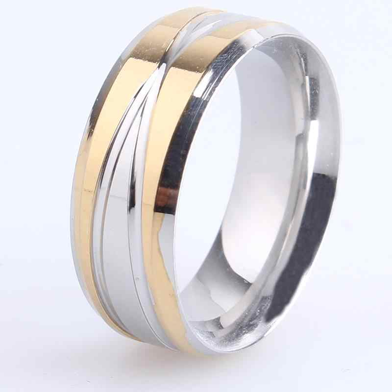 8mm gold silver cross stripes 316L Stainless Steel finger rings for women men wholesale