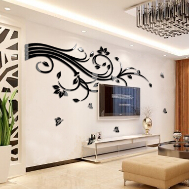 Acrylic Vine Flower Wall Stickers Poster Home Room Decorations Removable Stickers for Kitchen DIY Wall Stickers for Kids Rooms