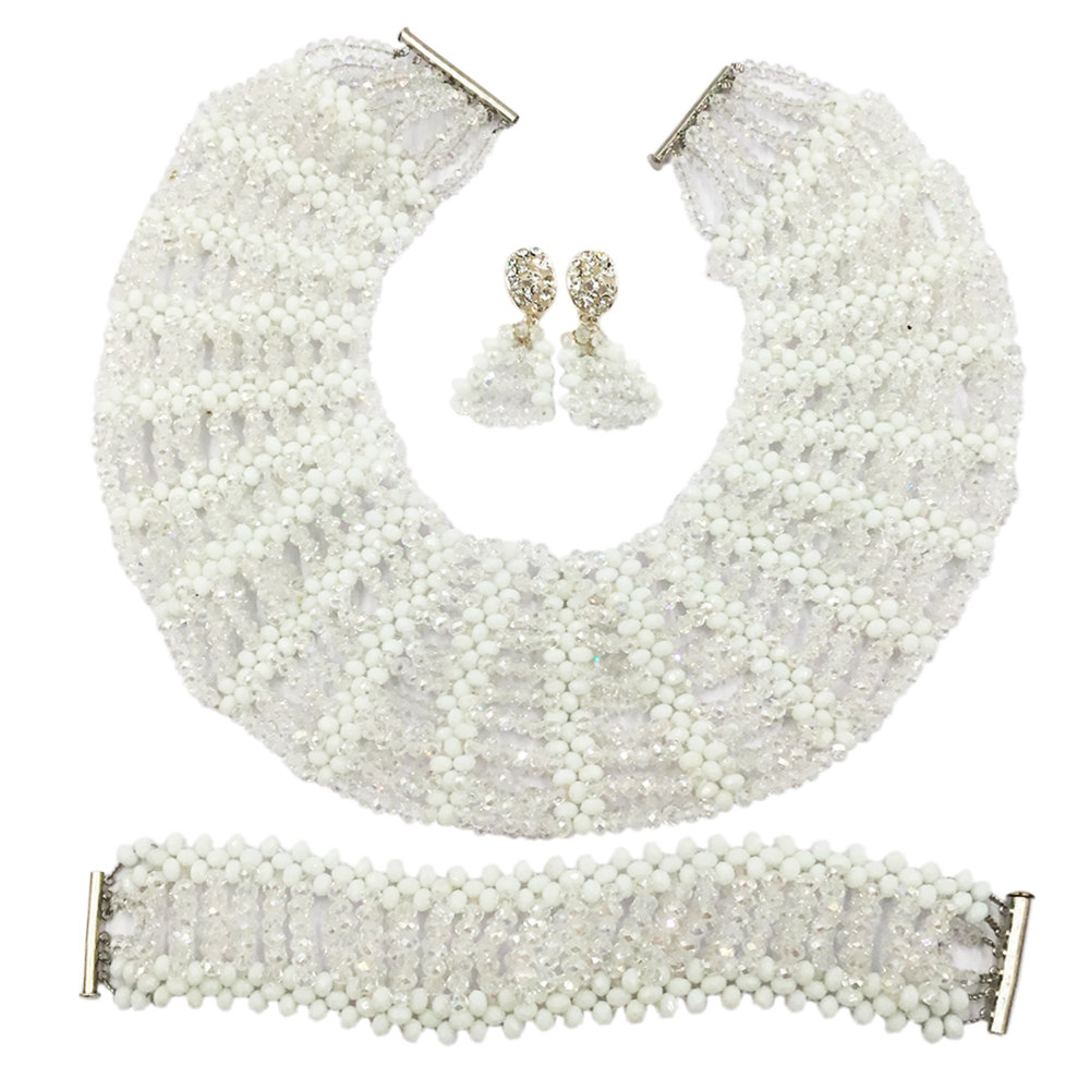 White Transparent Clear Crystal Beads Jewelry Set Nigerian Wedding African Necklace Jewelry Set Bridal Party Jewelry Sets SXK017 purple clear ab crystal african wedding beads nigerian beaded necklace jewelry set bridal party jewelry sets for women 10c sz30