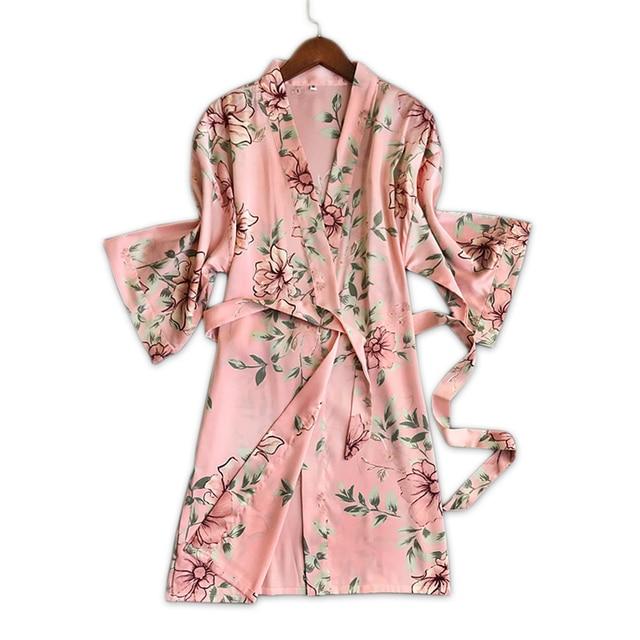 c84b644a7d Fresh floral satins silk sexy bathrobes women kimono robes dressing gown  fashion delicate pink floral women
