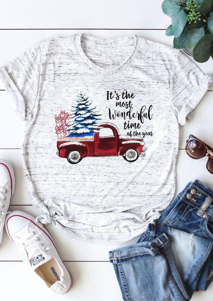 2018 weihnachten Frauen T-Shirt Es der Die Meisten Wunderbare Zeit Roten Lkw Druck Weibliche t-shirt Kurzarm Femme Nette Damen tops T