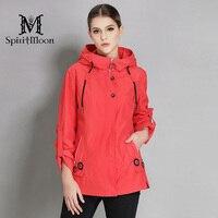 SpiritMoon 2018 Spring Coat Women Casual Loose Jacket Women Hooded Outerwear Coat Windbreaker Bright Colors Plus