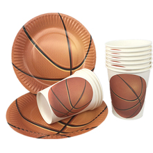 Omilut Basketball Theme Party Disposable Plates/Cups Decor Baby Shower Boy Sporty Supplies