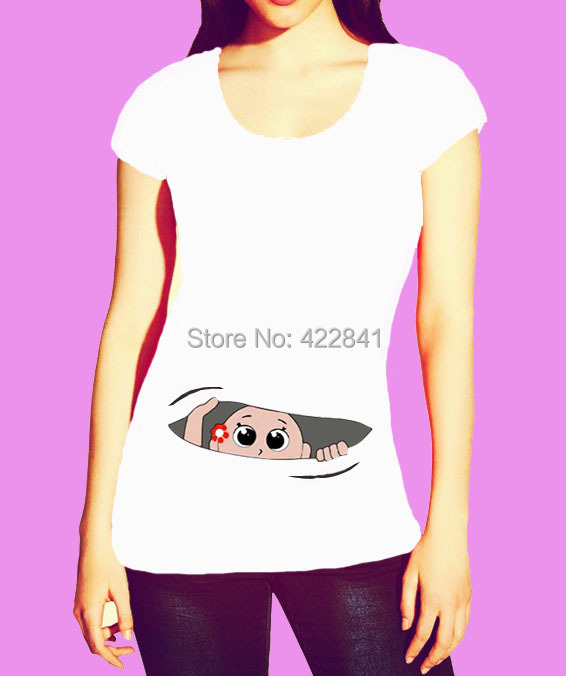 2f87583b New Arrival A Lovely Maternity Shirt With A Baby Peeking Out Funny T shirt, Funny  Maternity Top. Pregnancy Clothing Great Gift-in T-Shirts from Women's ...