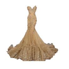 Real Photo Nach Maß Vestido de festa Luxus Abendkleider Schatz robe de soiree Gold Pailletten Meerjungfrau Lange Abendkleider