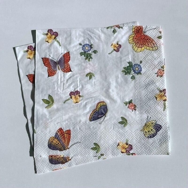 paper napkins decoupage x 2 butterflies 33cm