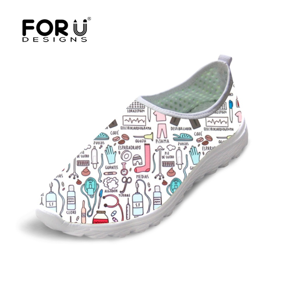FORUDESIGNS Summer Women Breathable Mesh Shoes Flats Cute Nursing Pattern Women's Sneakers Nurse Beach Loafers for Ladies Shoes forudesigns women casual sneaker cartoon cute nurse printed flats fashion women s summer comfortable breathable girls flat shoes