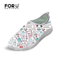 FORUDESIGNS Summer Women Breathable Mesh Shoes Flats Cute Nursing Pattern Womens Sneakers Nurse Beach Loafers for Ladies
