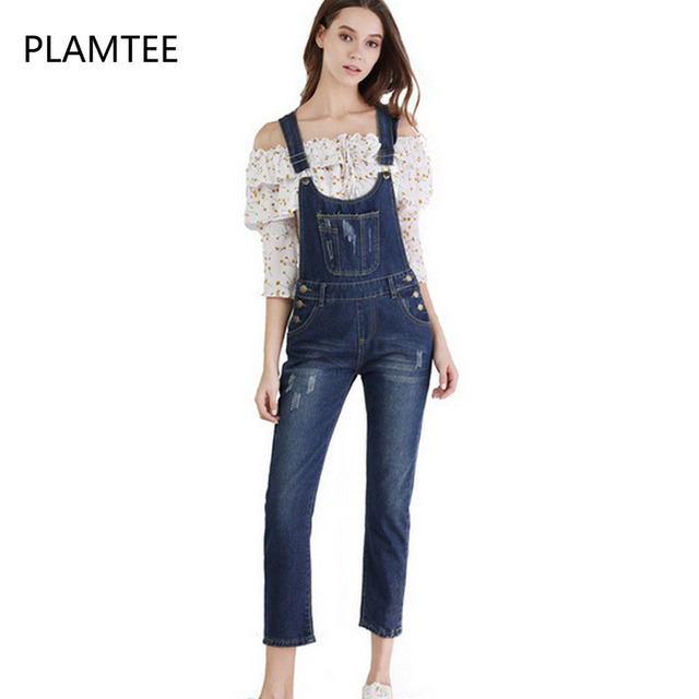 997ce1f4fc9b7a PLAMTEE Plus Size Women Ripped Denim Jumpsuits Ladies Casual Hole Sleeveless  Straps Scratch Jeans Overalls 2017