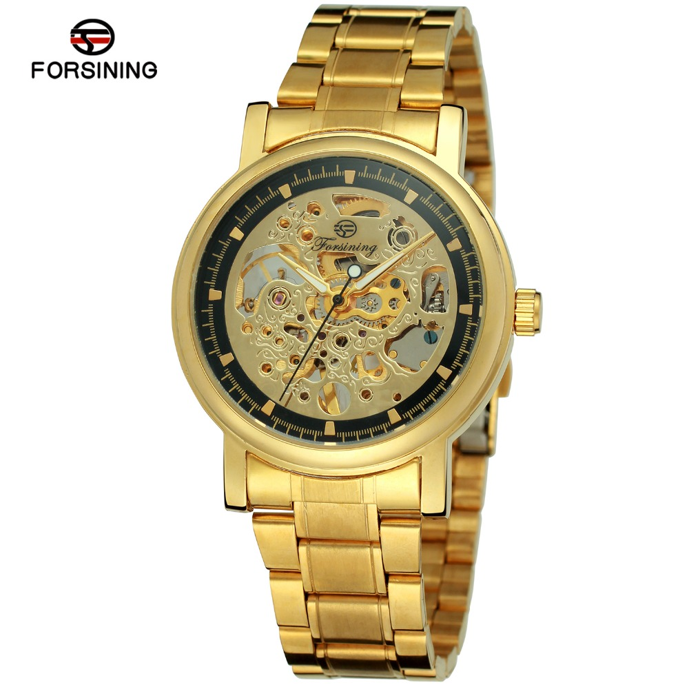 Top Luxury Brand Men s Watches Mechanical Skeleton Stainless Steel Male Business Dress Wristwatch no battery