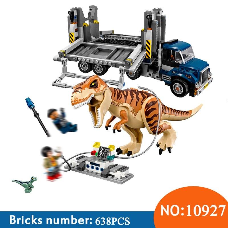 New Bela 10927 638pcs Jurassic World The Tyrannosaurus Rex Transport Model Building Block Toys For Children 75933