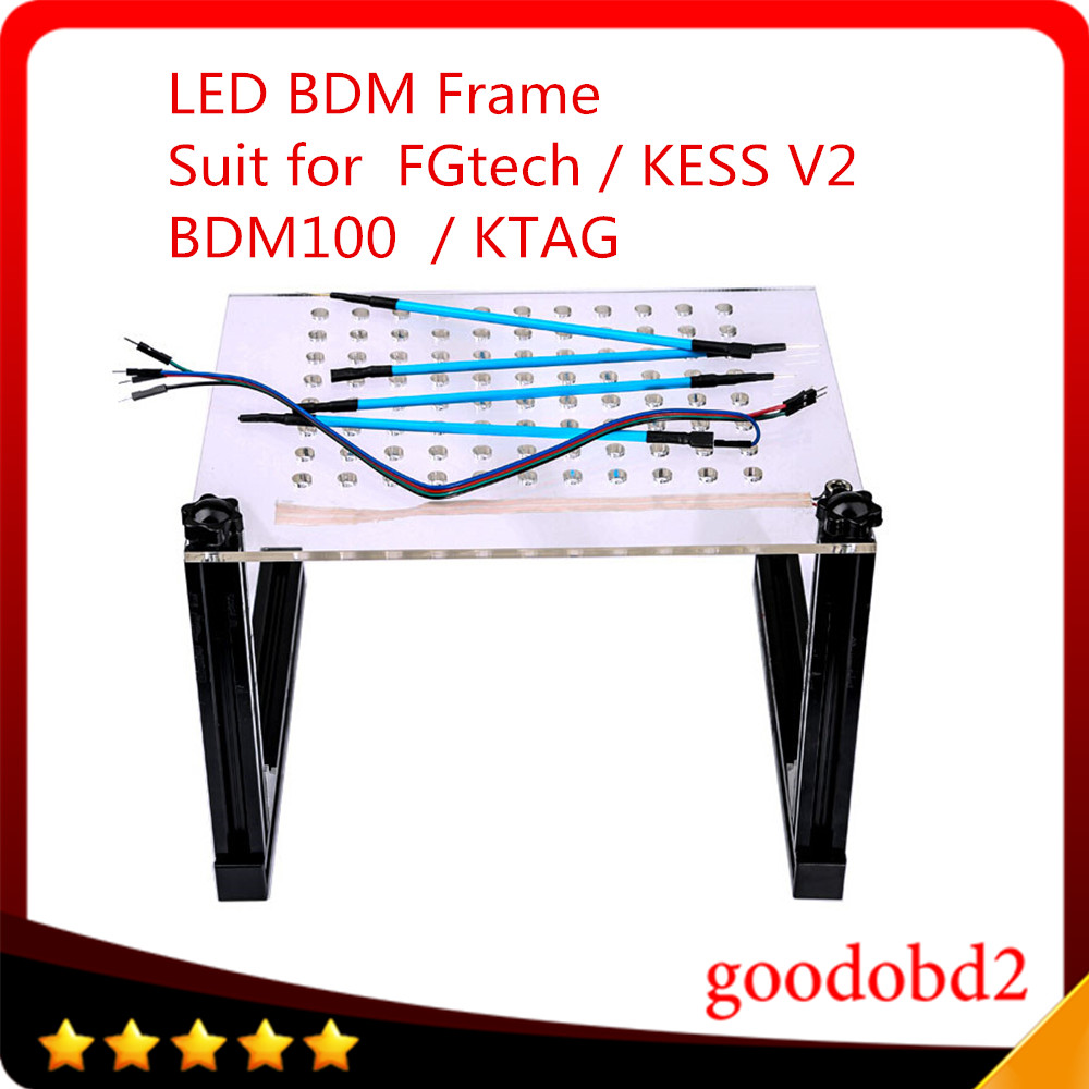 LED BDM Frame with Mesh and 4 Probe Pens for FGTECH / BDM100 / KESS v2 / KTAG K-TAG ECU Programmer Tool LED Light Mesh Assistant 2017 newest ktag v2 13 firmware v6 070 ecu multi languages programming tool ktag master version no tokens limited free shipping