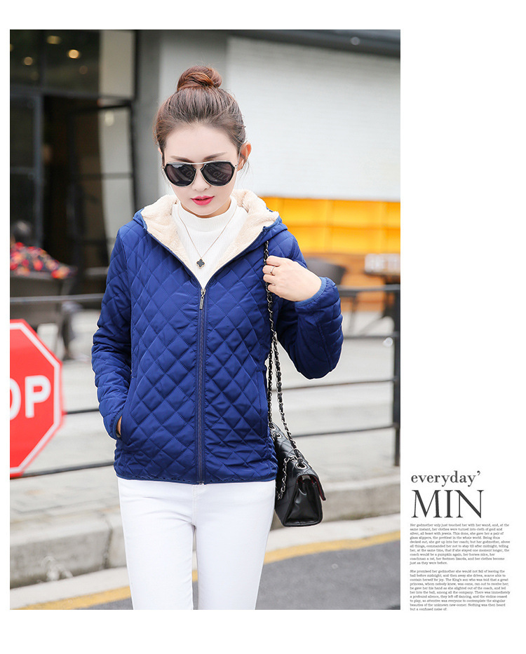 Autumn 2019 New Parkas basic jackets Female Women Winter plus velvet lamb hooded Coats Cotton Winter Jacket Womens Outwear coat 19