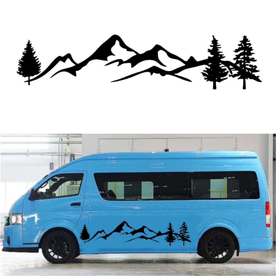 Black tree mountain car sticker decal vinyl car stickers for truck suv rv offroad supplies