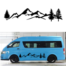Black Tree Mountain Car Sticker Decal Vinyl Car Stickers For Truck SUV RV Offroad Supplies one life live it offroad offroader mountain silhouette stickers sticker