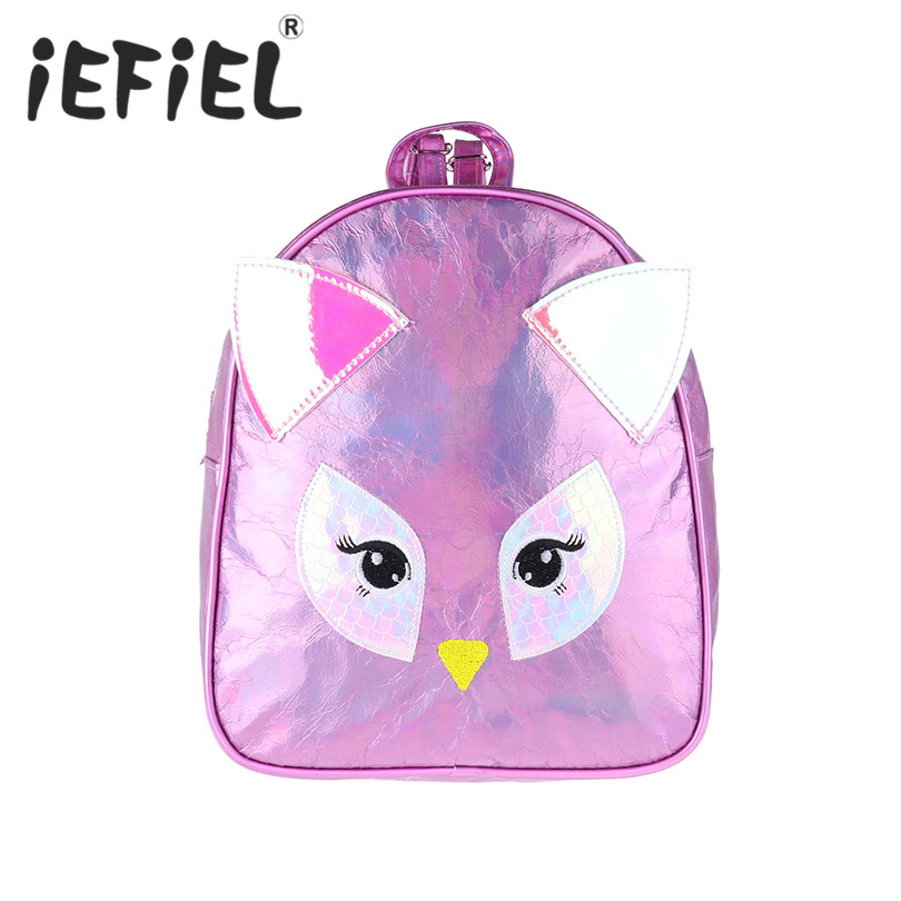 Fashion Children Girls Shiny PU Leather Owl Deisgn with Ears Backpack Daypack Shoulder Travel Bag Schoolbag for School Shopping