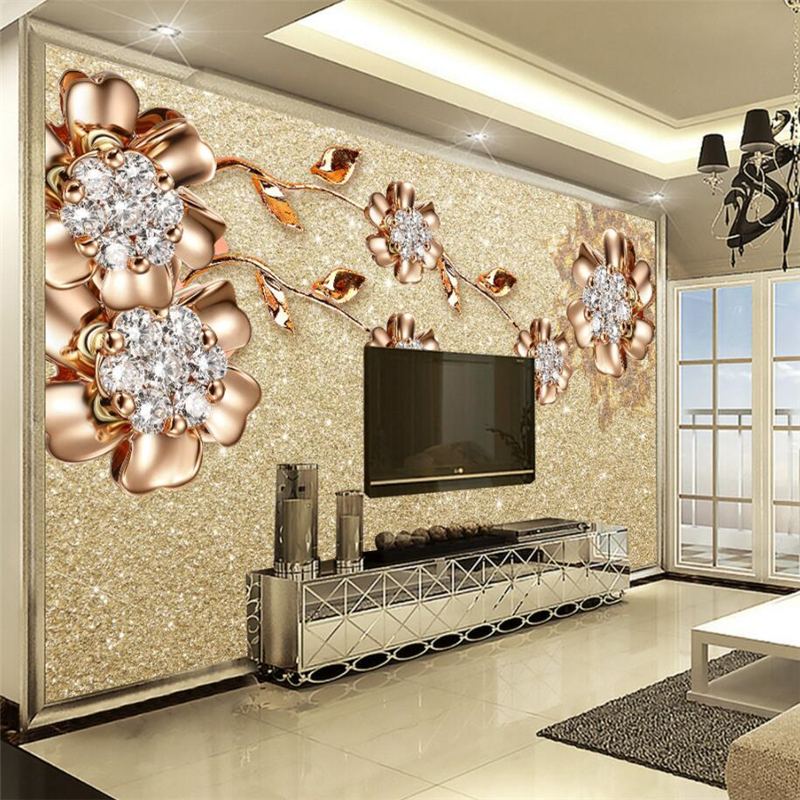 beibehang 3d Wall paper murals living room bedroom custom European jewelry flower wallpaper European fresco background