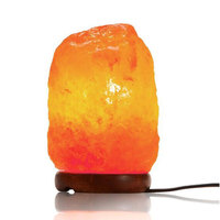 1 2KG Salt Lamp Natural Himalayan Crystal Night Light Dimmable Switch Wooden Base 15W Bulb for Home Bedroom Living Room Office