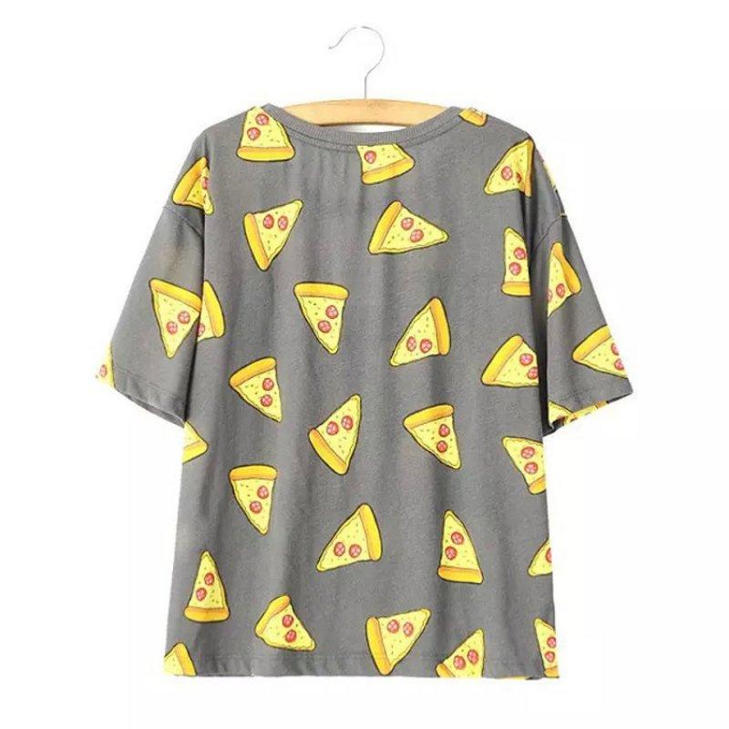 Ingen DRAMA T-shirt Kvinder Cute Pizza Letters Print Kortærmet Toppe - Dametøj - Foto 2