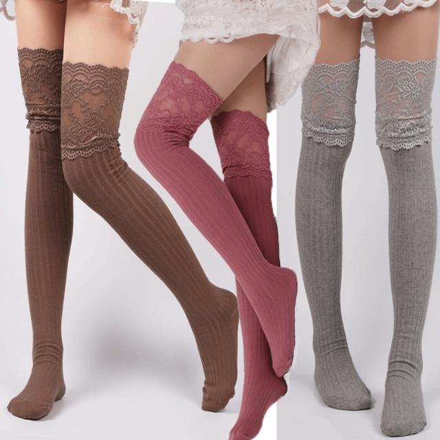 1 Pair Knee High Crochet Knitted thigh High Stockings