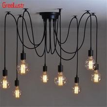 Lámpara de techo Led de araña Vintage, iluminación industrial de techo negro, lámpara colgante de diseño de lámpara DIY, lámpara de decoración del hogar