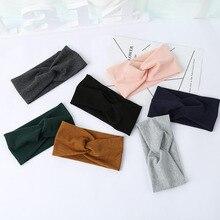 Фотография LNRRABC Women Widened Hair Bands Spiral Double Cloth Knit Headbands Ornaments Hairbands Headwear Fashion Hair Accessories