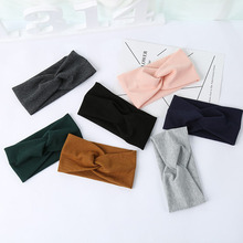 Women Widened Hair Bands Spiral Double Cloth Knit Ornaments Solid Color Headwear Fashion Headbands Hair Accessories beige simulated pearl colorful square cloth headbands headwear