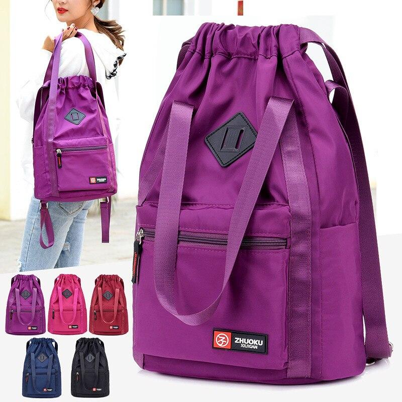 Image 2 - Women Nylon Backpacks Fashion Ladies Casual Drawstring Rucksack Multifunction Shoulder Bag Teenager Girls Travel SchoolbagBackpacks   -