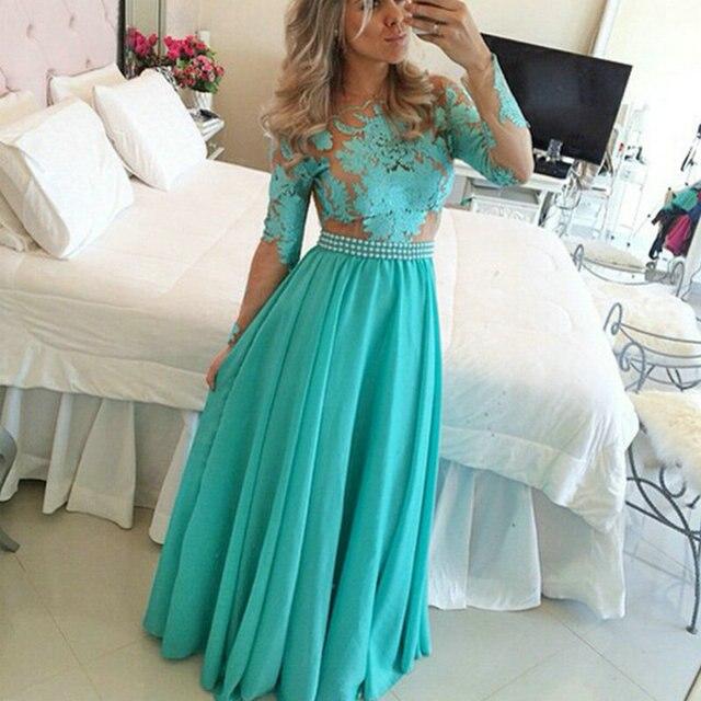 f0b7cad4d Turquesa de la manera vestidos de Fiesta vestidos de formatura vestido de  Una Línea de Apliques