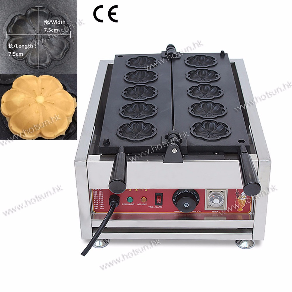 Commercial Non-stick 110V 220V Electric Cherry Blossom Flower Waffle Iron Maker Baker Machine free shipping commercial non stick 110v 220v electric cherry blossom flower waffle iron maker baker machine