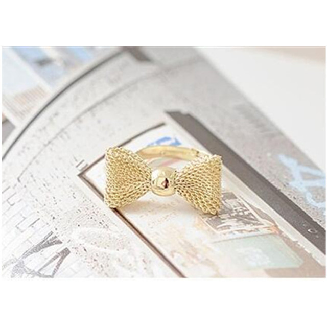 NJ21 Korean Style Bow Knot Finger Rings For Women Sweet Cute Girls Exquisite Sil