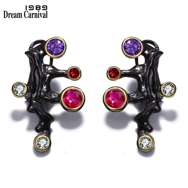 DreamCarnival 1989 Gothic Design Long Stud Earrings Women Purple Red CZ Stone Vintage Black Color Mujeres Pendientes Brincos E07