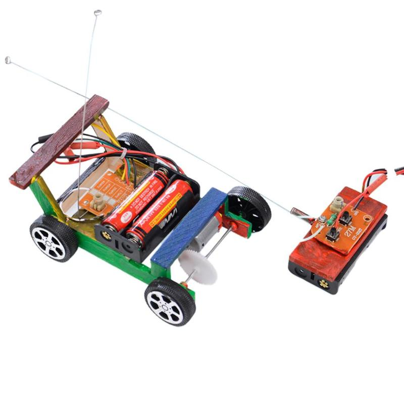 Creative DIY Remote Control Vehicle Car Model Science Experiment Toys Wooden Assembly RC Toys Science Model Educational Toys