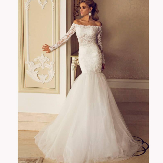 Off the shoulder lace mermaid wedding dresses www for Off shoulder sleeve wedding dress