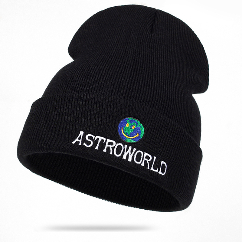 2018 New Travi$ Scott Knitted Hat ASTROWORLD   Beanie   embroidery Astroworld Ski Warm Winter Unisex Travis Scott   Skullies   &   Beanies