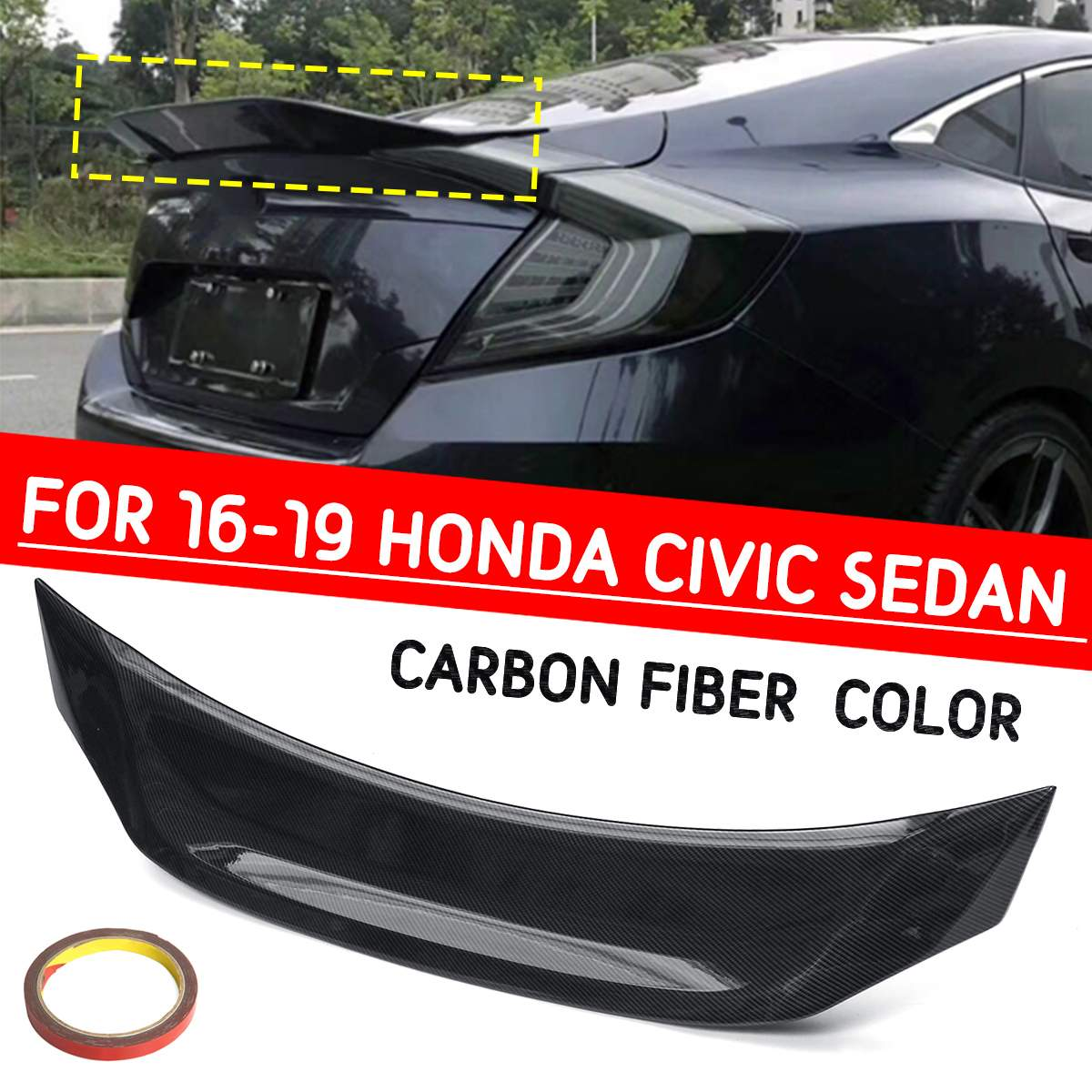 For Honda Civic 2016-2018  Rear Tail Trunk Black Carbon Fiber Spoiler Wing Trim