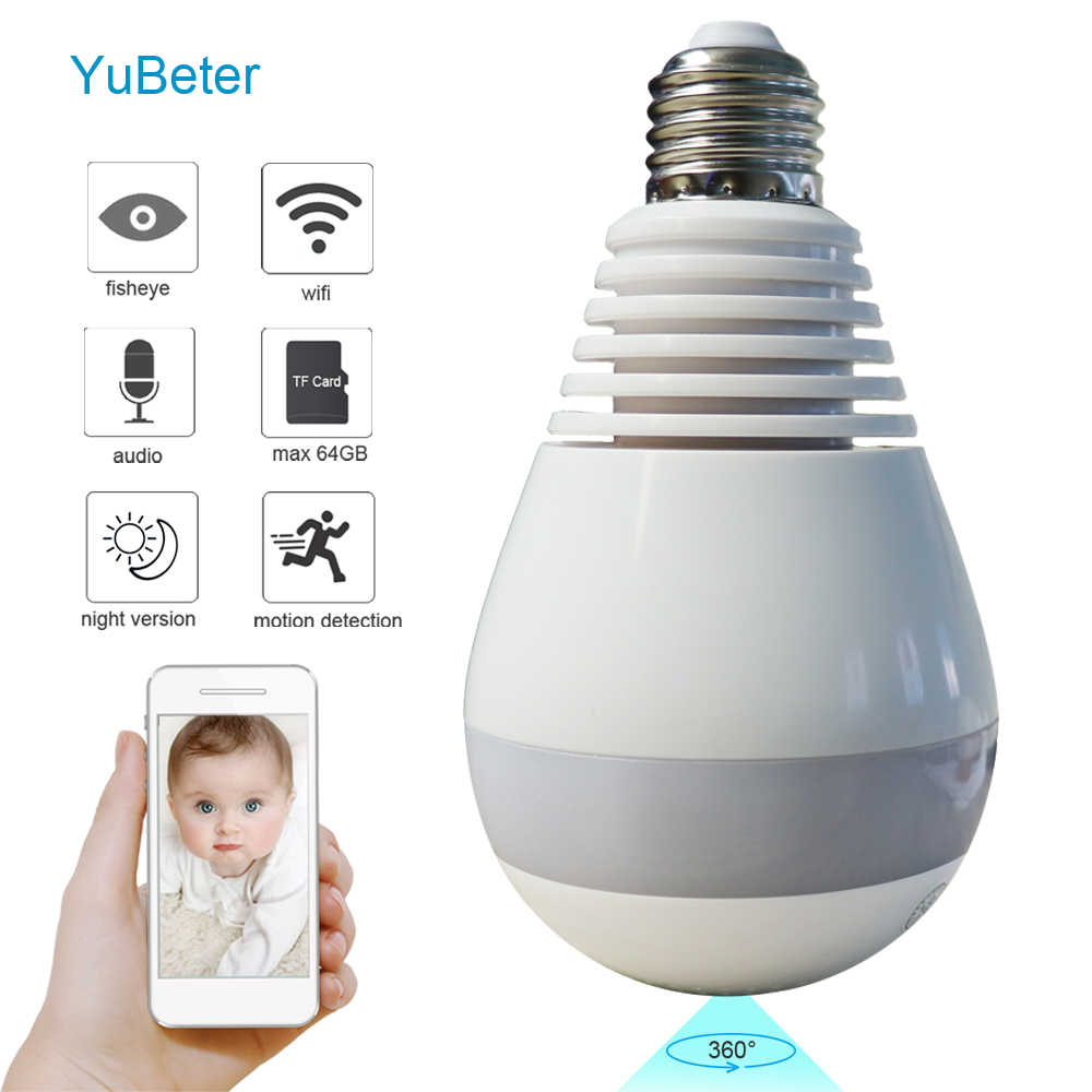YuBeter HD 960P 1.3 Megapixels  Home Security 360 Camera Bulb Wifi  IP Camera Lamp Video Surveillance Night Vision Two Way Audio