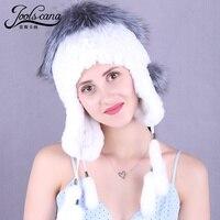 Joolscana девочек шляпа женщин наушник крышка держать ухо теплый мех кролика hat молодых женщин зимняя шапка модные шапочки с меха лисы Топ