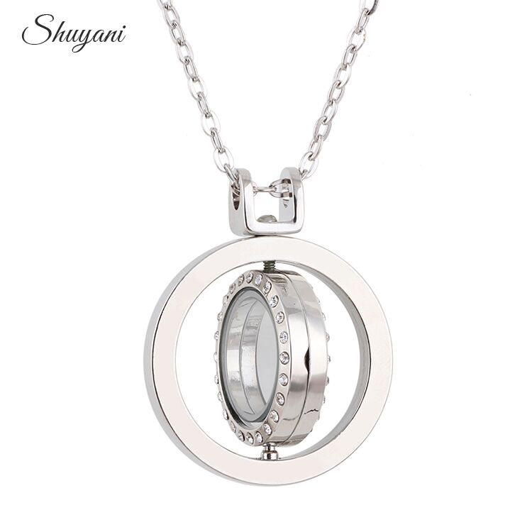 10pcs/lot 2016 Floating Rotate Locket Necklace & Pendants 37*37mm Round Rhinestone Glass Living Memory Charm Locket Necklace
