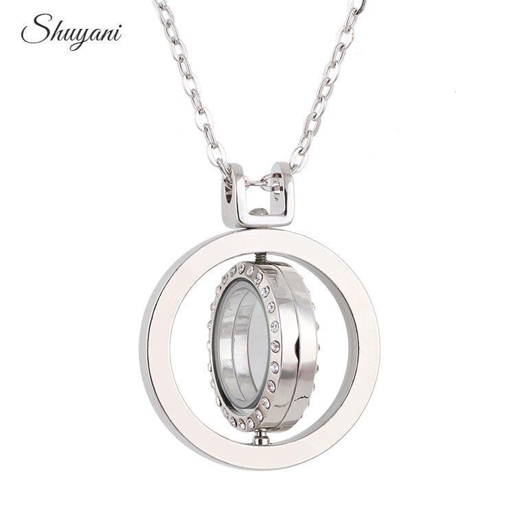 10ks / lot 2016 Plovoucí otočný náhrdelník s přívěskem a přívěsky 37 * 37 mm kulatý drahokamu sklo živé paměti kouzlo náhrdelník
