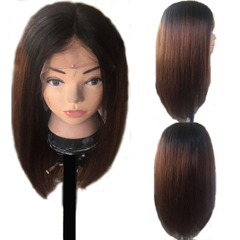 LUFFYHAIR 13x6 Deep Part Lace Front Human Hair Wigs For Black Women Brazilian Remy Hair Ombre Short Cut Human Hair Bob Wigs