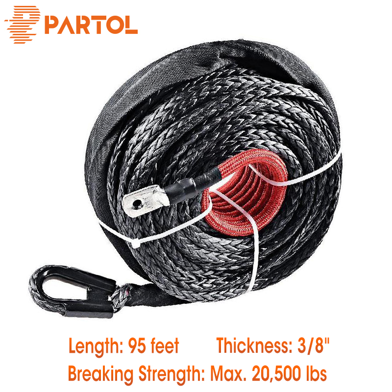 Partol 95ft x 3 8 BLACK Synthetic Winch Rope Line Cable 20500LBS w Protective Sleeve For