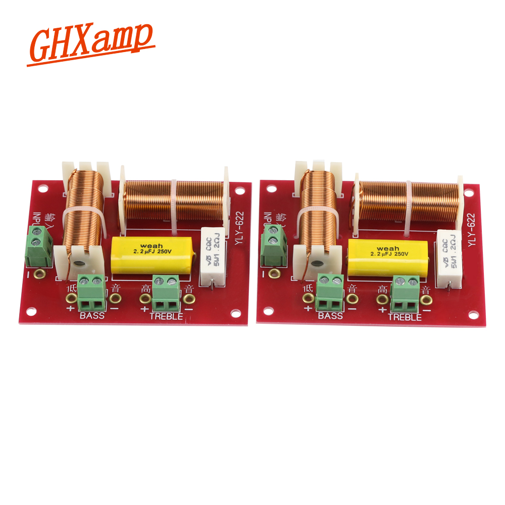 GHXAMP 200W Speaker Divider 2 Way Crossover 5000HZ Tweeter And Bass Two-way Crossover Auido Board 2PCS